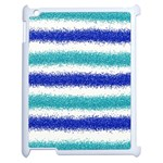 Metallic Blue Glitter Stripes Apple iPad 2 Case (White) Front