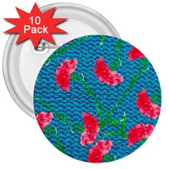 Carnations 3  Buttons (10 Pack)