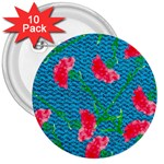 Carnations 3  Buttons (10 pack)  Front