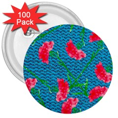 Carnations 3  Buttons (100 Pack)
