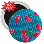 Carnations 3  Magnets (100 pack) Front