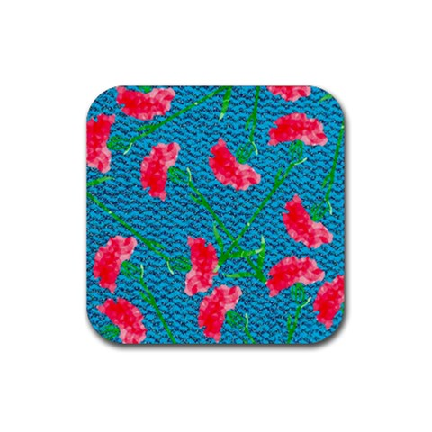 Carnations Rubber Square Coaster (4 pack)