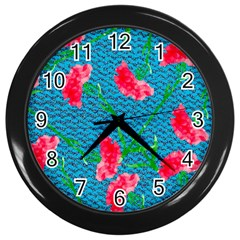 Carnations Wall Clocks (Black)
