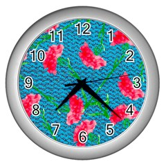 Carnations Wall Clocks (Silver)