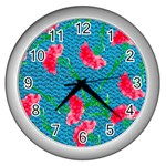 Carnations Wall Clocks (Silver)  Front