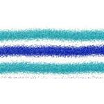 Metallic Blue Glitter Stripes HUGS 3D Greeting Card (8x4) Front