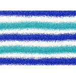Metallic Blue Glitter Stripes Get Well 3D Greeting Card (7x5) Front