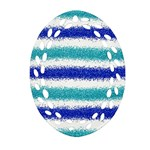 Metallic Blue Glitter Stripes Oval Filigree Ornament (2-Side)  Front