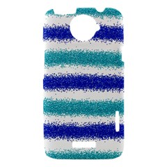 Metallic Blue Glitter Stripes HTC One X Hardshell Case