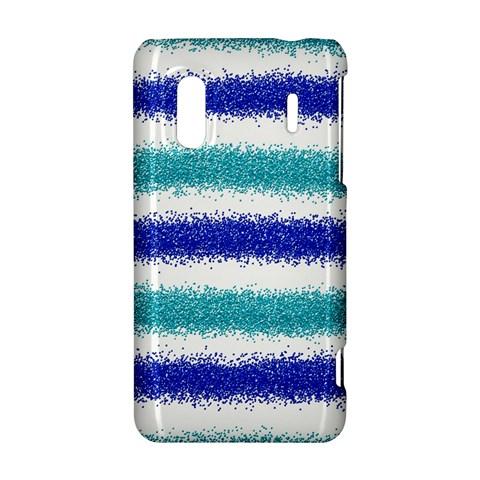 Metallic Blue Glitter Stripes HTC Evo Design 4G/ Hero S Hardshell Case