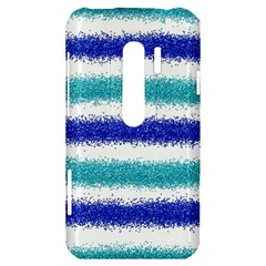 Metallic Blue Glitter Stripes HTC Evo 3D Hardshell Case