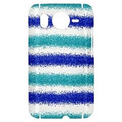Metallic Blue Glitter Stripes HTC Desire HD Hardshell Case