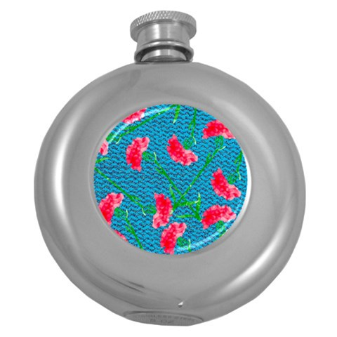 Carnations Round Hip Flask (5 oz)