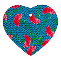 Carnations Heart Ornament (2 Sides)