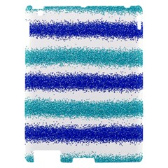 Metallic Blue Glitter Stripes Apple iPad 2 Hardshell Case