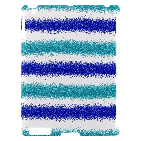 Metallic Blue Glitter Stripes Apple iPad 2 Hardshell Case (Compatible with Smart Cover)