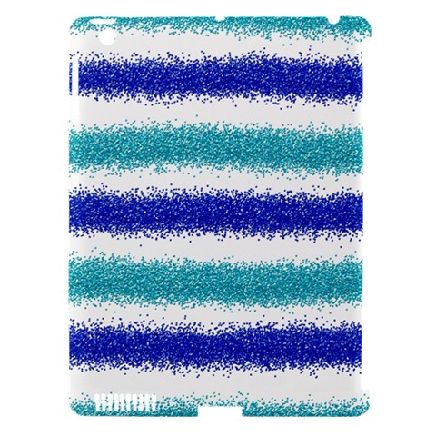 Metallic Blue Glitter Stripes Apple iPad 3/4 Hardshell Case (Compatible with Smart Cover)