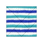 Metallic Blue Glitter Stripes Acrylic Tangram Puzzle (4  x 4 ) Front