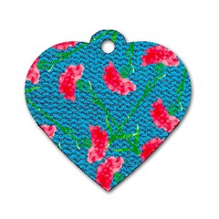 Carnations Dog Tag Heart (one Side)