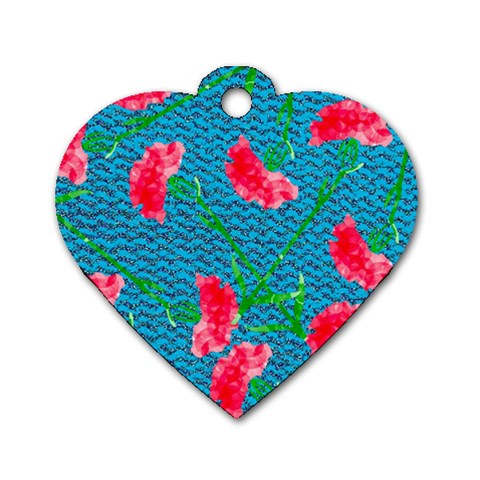 Carnations Dog Tag Heart (Two Sides)