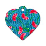 Carnations Dog Tag Heart (Two Sides) Front