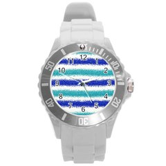 Metallic Blue Glitter Stripes Round Plastic Sport Watch (L)
