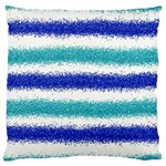 Metallic Blue Glitter Stripes Large Cushion Case (Two Sides) Front