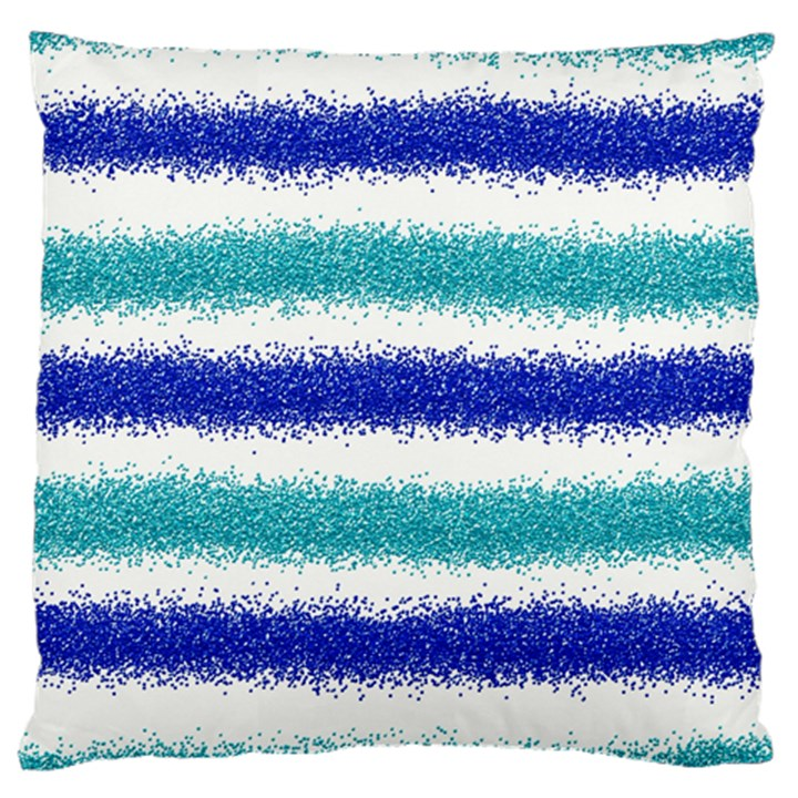 Metallic Blue Glitter Stripes Large Cushion Case (Two Sides)