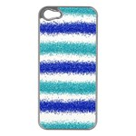 Metallic Blue Glitter Stripes Apple iPhone 5 Case (Silver) Front