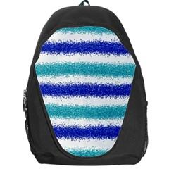 Metallic Blue Glitter Stripes Backpack Bag