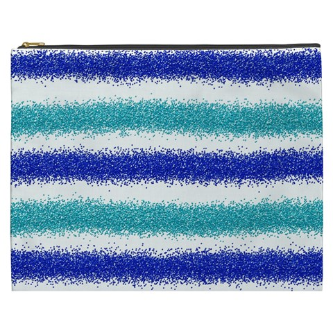 Metallic Blue Glitter Stripes Cosmetic Bag (XXXL)