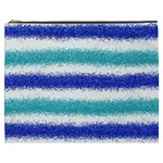 Metallic Blue Glitter Stripes Cosmetic Bag (XXXL)  Front