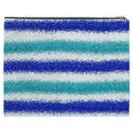Metallic Blue Glitter Stripes Cosmetic Bag (XXXL)  Back