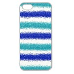 Metallic Blue Glitter Stripes Apple Seamless iPhone 5 Case (Clear) Front