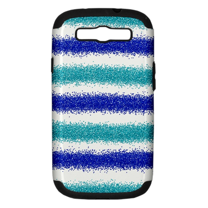Metallic Blue Glitter Stripes Samsung Galaxy S III Hardshell Case (PC+Silicone)