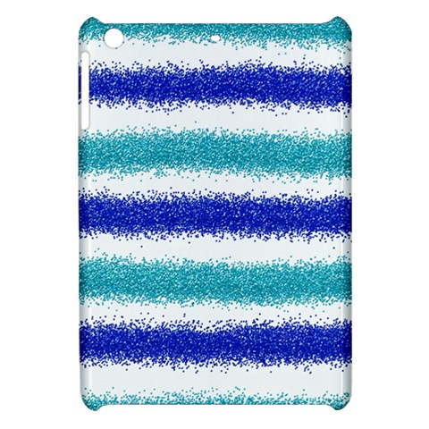 Metallic Blue Glitter Stripes Apple iPad Mini Hardshell Case