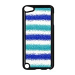 Metallic Blue Glitter Stripes Apple iPod Touch 5 Case (Black) Front
