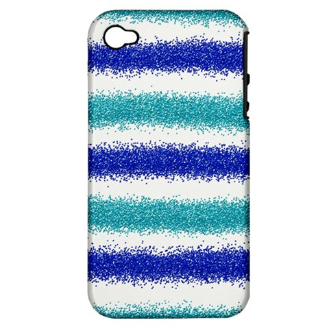 Metallic Blue Glitter Stripes Apple iPhone 4/4S Hardshell Case (PC+Silicone)