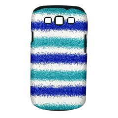 Metallic Blue Glitter Stripes Samsung Galaxy S III Classic Hardshell Case (PC+Silicone)