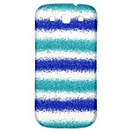 Metallic Blue Glitter Stripes Samsung Galaxy S3 S III Classic Hardshell Back Case Front