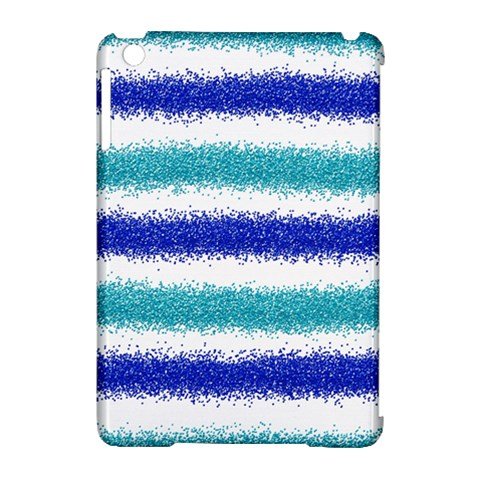 Metallic Blue Glitter Stripes Apple iPad Mini Hardshell Case (Compatible with Smart Cover)