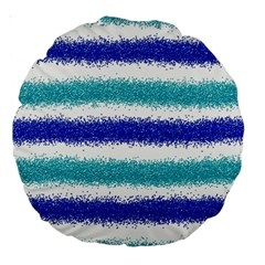 Metallic Blue Glitter Stripes Large 18  Premium Round Cushions