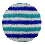 Metallic Blue Glitter Stripes Large 18  Premium Round Cushions Back