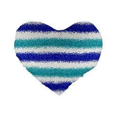 Metallic Blue Glitter Stripes Standard 16  Premium Heart Shape Cushions