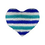 Metallic Blue Glitter Stripes Standard 16  Premium Heart Shape Cushions Back
