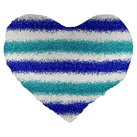 Metallic Blue Glitter Stripes Large 19  Premium Heart Shape Cushions