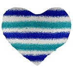 Metallic Blue Glitter Stripes Large 19  Premium Heart Shape Cushions Front