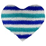 Metallic Blue Glitter Stripes Large 19  Premium Heart Shape Cushions Back