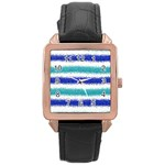 Metallic Blue Glitter Stripes Rose Gold Leather Watch  Front