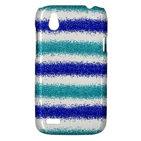 Metallic Blue Glitter Stripes HTC Desire V (T328W) Hardshell Case